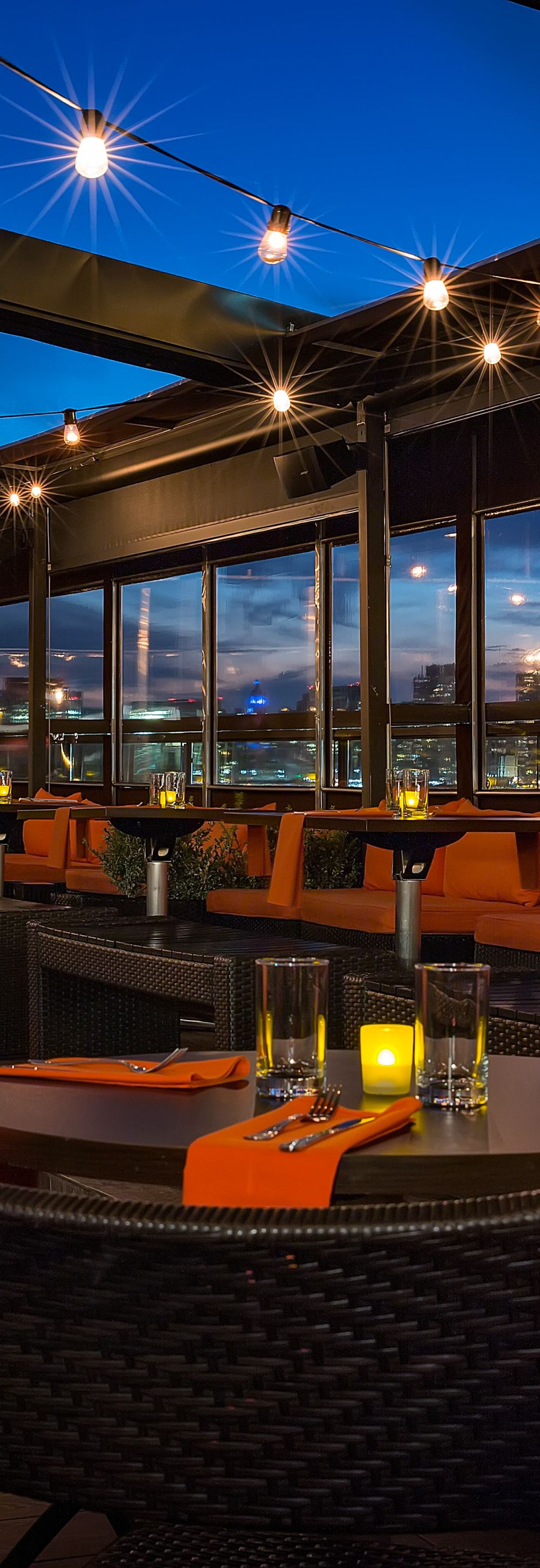 Interior view of Penthouse 808 rooftop restaurant and bar lounge in Long Island City, NYC